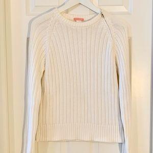 J. Crew Ribbed Cotton Crewneck Sweater w/ Zipper
